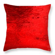Red Rain Droplets Throw Pillow