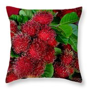 Red Rambutan And Green Leaves Throw Pillow
