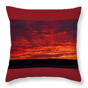 Red Ray Sunset Throw Pillow