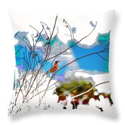 Red Red Robin 2 Throw Pillow