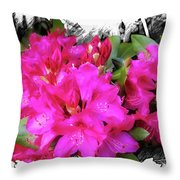 Red Rhododendron Flowers Throw Pillow
