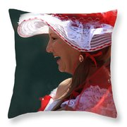 Red Ribbon Bow Throw Pillow