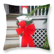Red Ribbon On Steps Throw Pillow