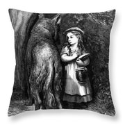 Red Riding Hood Meets Old Father Wolf Throw Pillow