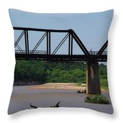 Red River Railroad Crossing Throw Pillow