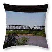 Red River Truss Bridge Throw Pillow
