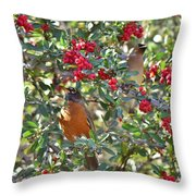 Red Robin And Cedar Waxwing 1 Throw Pillow