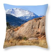 Red Rock And Pikes Peak Throw Pillow