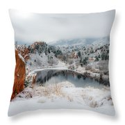 Red Rock Canyon In Winter 2 Throw Pillow