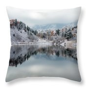 Red Rock Canyon In Winter Throw Pillow