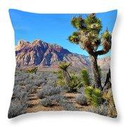 Red Rock Canyon Joshua Tree Throw Pillow