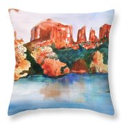 Red Rock Crossing Throw Pillow by Sharon Mick
