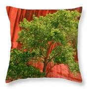 Red Rock Green Tree Throw Pillow