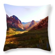 Red Rock Rays Throw Pillow