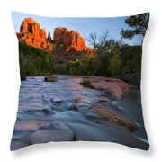 Red Rock Sunset Throw Pillow by Mike  Dawson