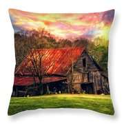 Red Roof At Sunset Throw Pillow