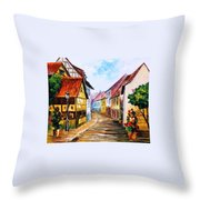 Red Roof - Palette Knife Oil Painting On Canvas By Leonid Afremov Throw Pillow
