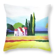 Red Roof Pastoral Throw Pillow
