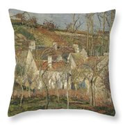 Red Roofs, Corner Of A Village, Winter Throw Pillow
