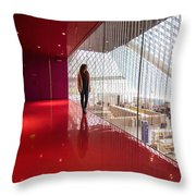 Red Room Views At The Seattle Central Library Throw Pillow