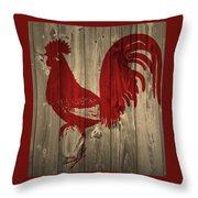 Red Rooster Barn Door Throw Pillow