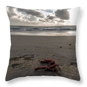 Red Rope On The Beach Throw Pillow