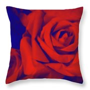 Red, Rose And Blue Throw Pillow