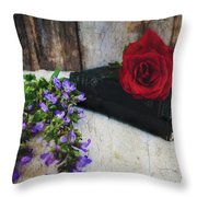 Red Rose And Sage With Vintage Books Throw Pillow