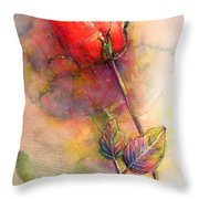 Red Rose From The Past Throw Pillow