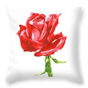 Red Rose Watercolor Painting Throw Pillow