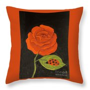 Red Rose, Oil Painting Throw Pillow