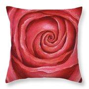 Red Rose Pastel Painting Throw Pillow