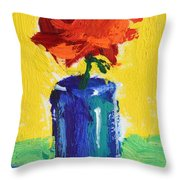Red Rose With Yellow And Green Throw Pillow