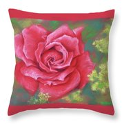 Red Rose With Yellow Lady's Mantle Throw Pillow