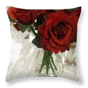 Red Roses And Glass Still Life 042216 1a Throw Pillow