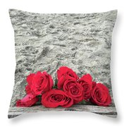 Red Roses Beachside Throw Pillow