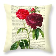 Red Roses For Valentine Throw Pillow