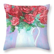 Red Roses In White Jug Throw Pillow by Jan Matson