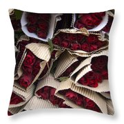 Red Roses Wrapped In Paper Displayed Throw Pillow