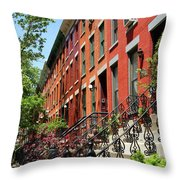 Red Row Houses Throw Pillow