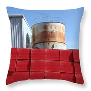 Red Rust And Blue Throw Pillow
