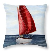 Red Sail Serenity Throw Pillow