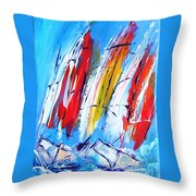 Red Sails On Blue  Throw Pillow