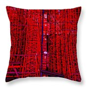 Red Scaffold Throw Pillow