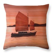 Red Sea With Chinese Boat Throw Pillow