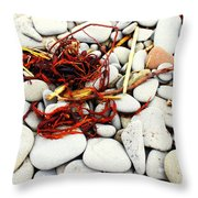 Red Seaweed On Stones Throw Pillow