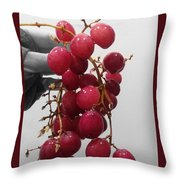 Red Seedless Grape Cluster Throw Pillow