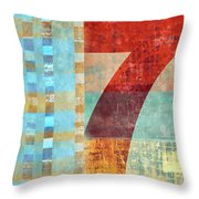 Red Seven And Stripes Mixed Media Throw Pillow