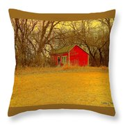 Red Shack Throw Pillow
