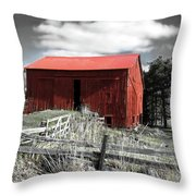Red Shack Landscape Throw Pillow